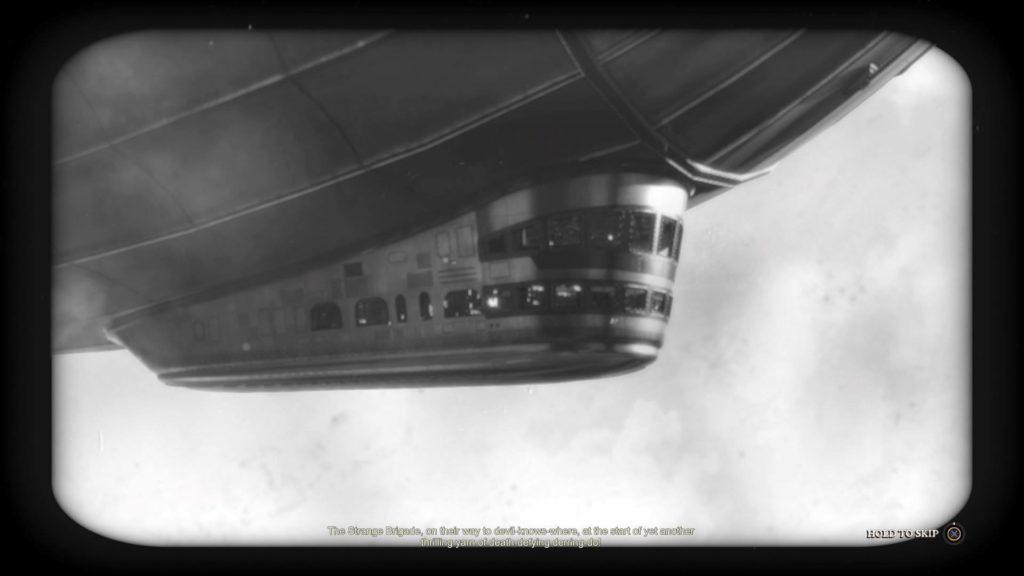 Black and white scene of blimp flying. Illegible subtitles shown at bottom.
