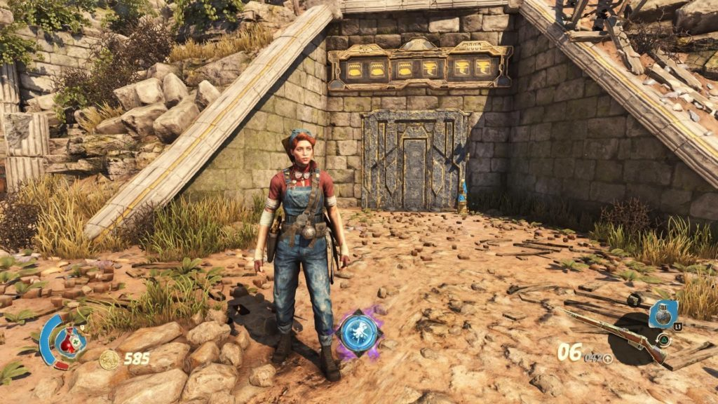 Player character standing near sealed tomb.