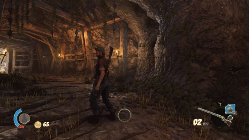 Player character exploring a cave
