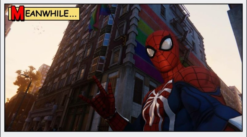 Spider-Man making a peace sign standing in front of a pride flag