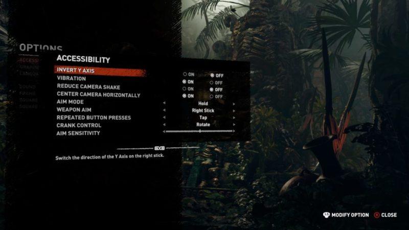 Accessibility options menu