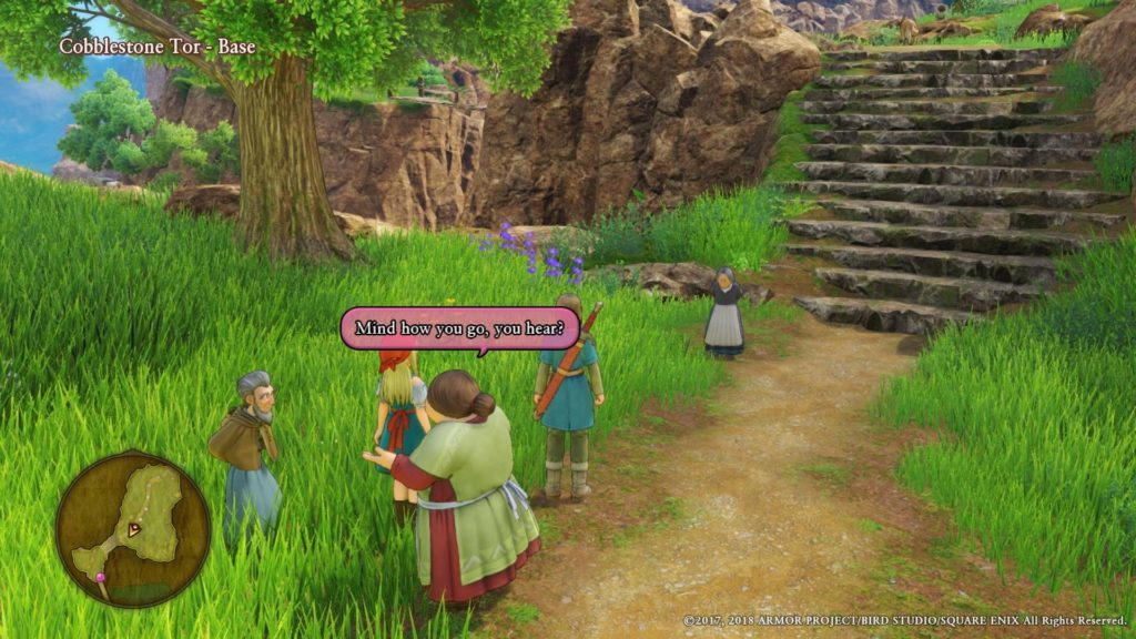 View of multiple characters in starting area, pink speech bubble over older woman speaking.