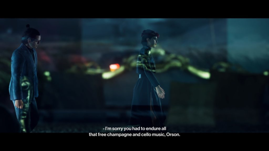 Cutscene illustrating subtitles set to size 34. Man and woman walking and having a conversation.