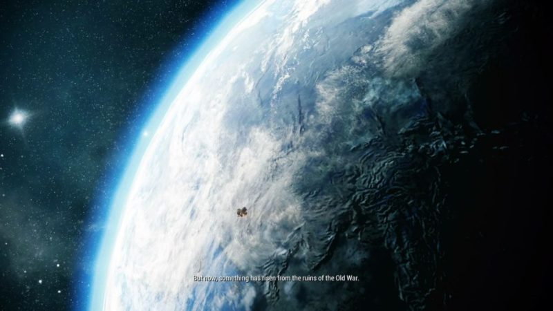 View of Earth from space during Warframe cutscene.