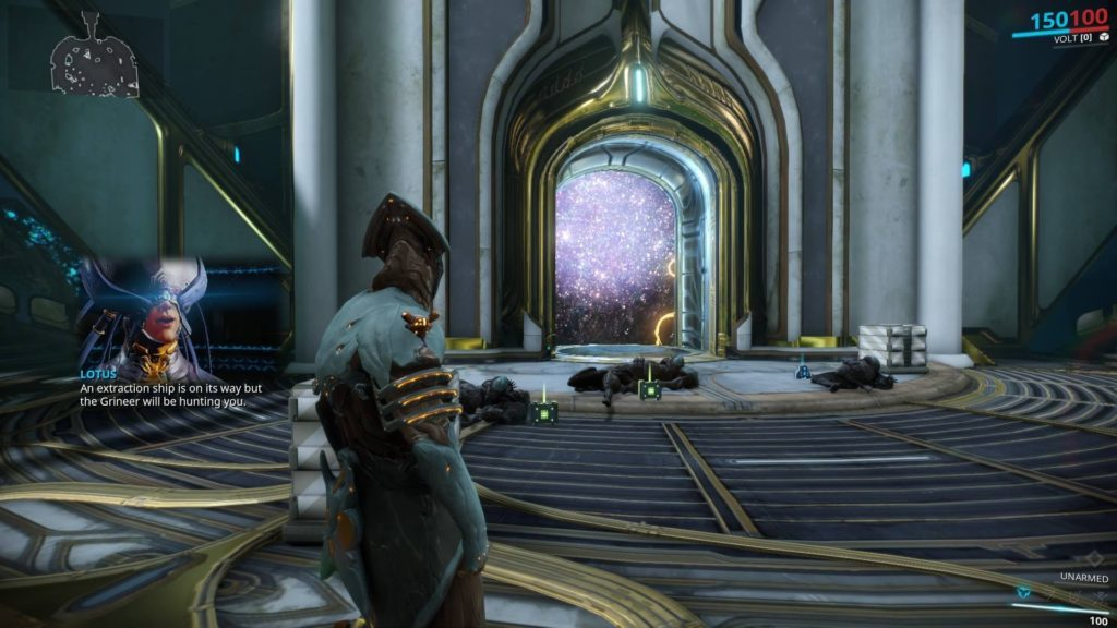 Volt Warframe inside gold lined temple type room, picture-in-picture view of Lotus speaking.