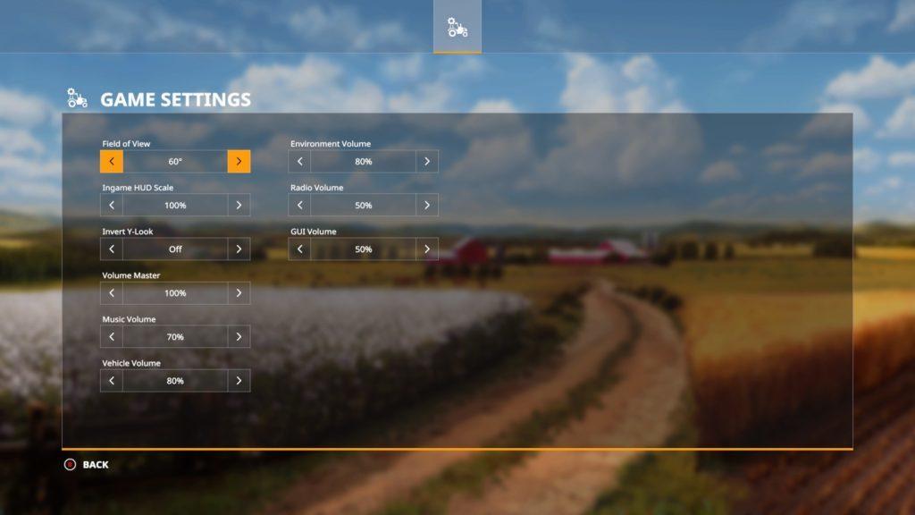 Game settings menu.