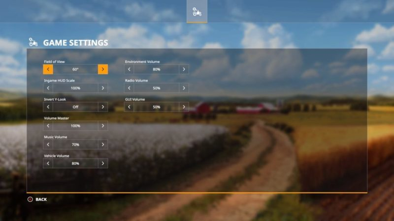 Game settings menu.