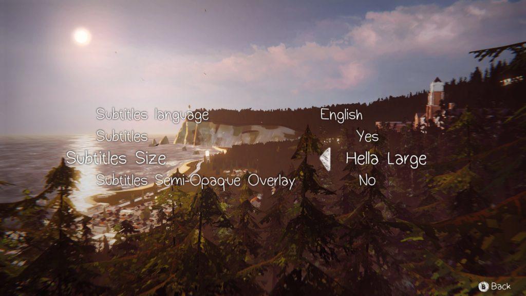 Subtitles option screen