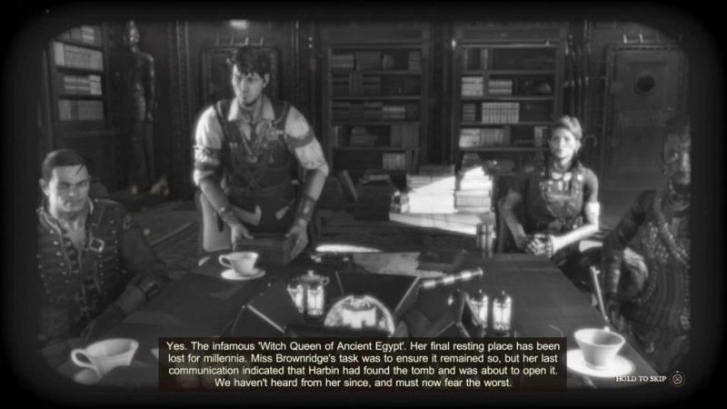 Black and white scene of Strange Brigade crew. Easily legible subtitles shown at bottom.
