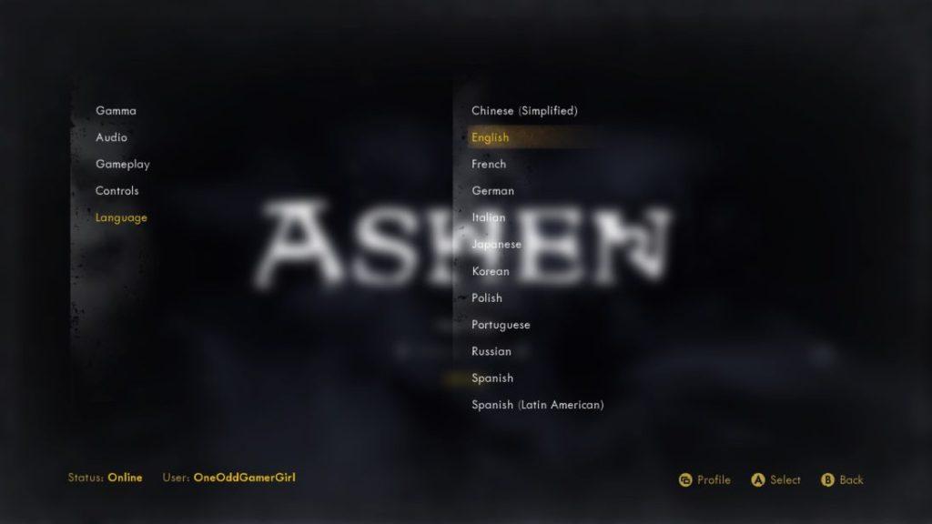 Ashen language selection menu
