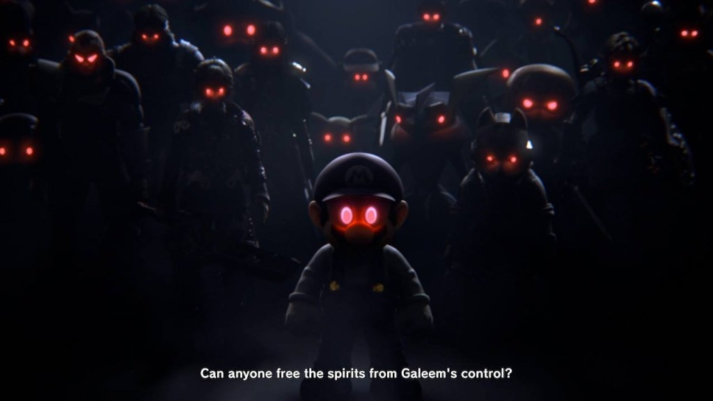 """Collection of Smash Bros. fighters with glowing red eyes with subtitle text that says, """"Can anyone free the spirits from Galeem's control?"""""""