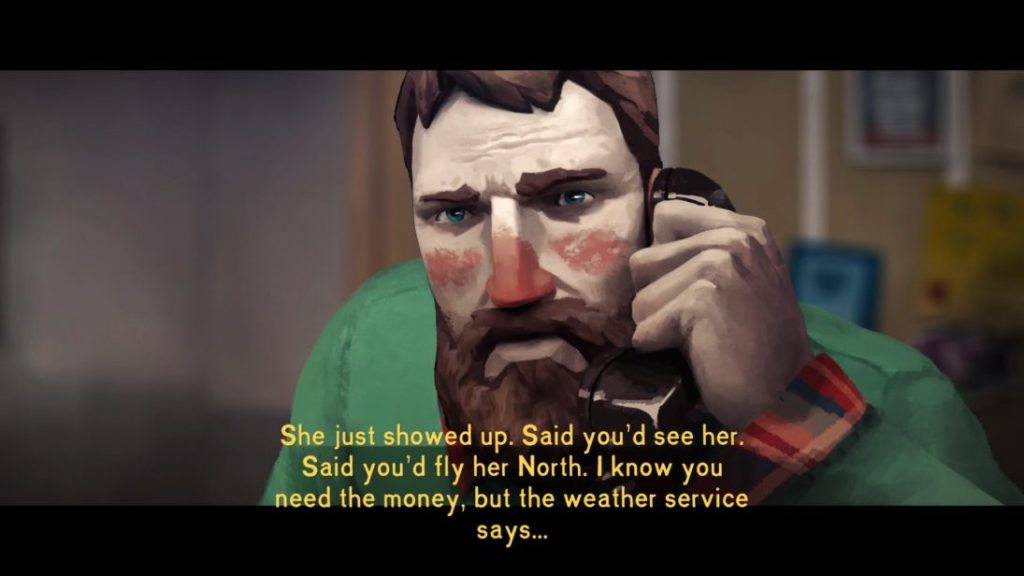 Large dialogue subtitles still with no speaker labels during a cutscene.