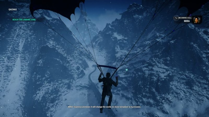 "Rico parachuting toward snow covered mountains. Subtitle text reads, ""MIRA: Espinosa promises it will change the world, no more tornadoes or hurricanes."""