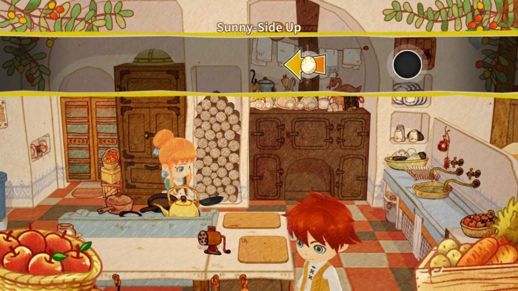 Rin and Ren in cafe kitchen. Bar across top of screen showing button press instructions for cooking mini-game.
