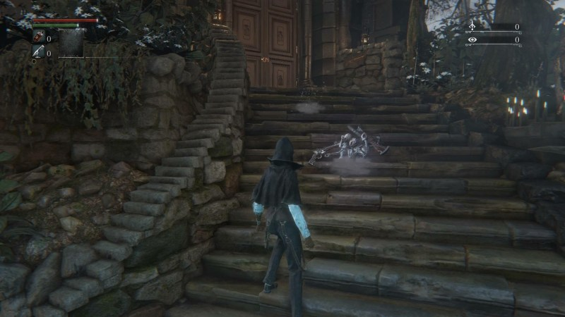 Player character on steps in front of interactive message on ground.