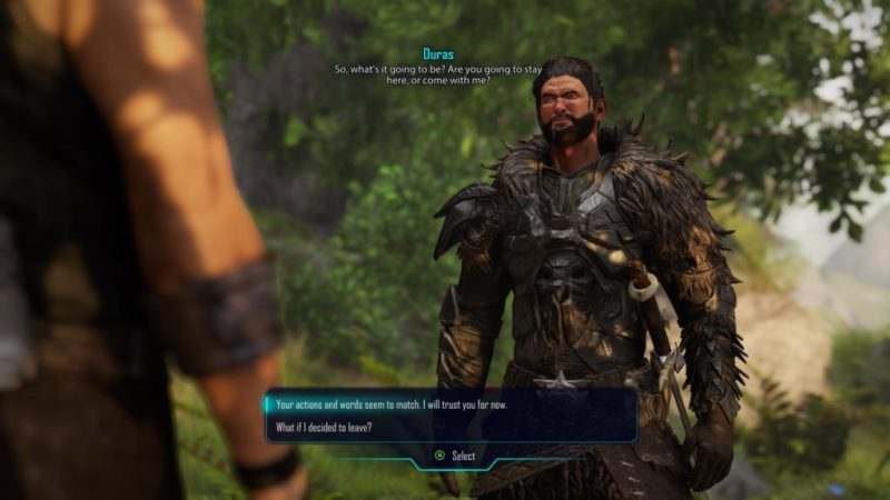Duras talking to player character.