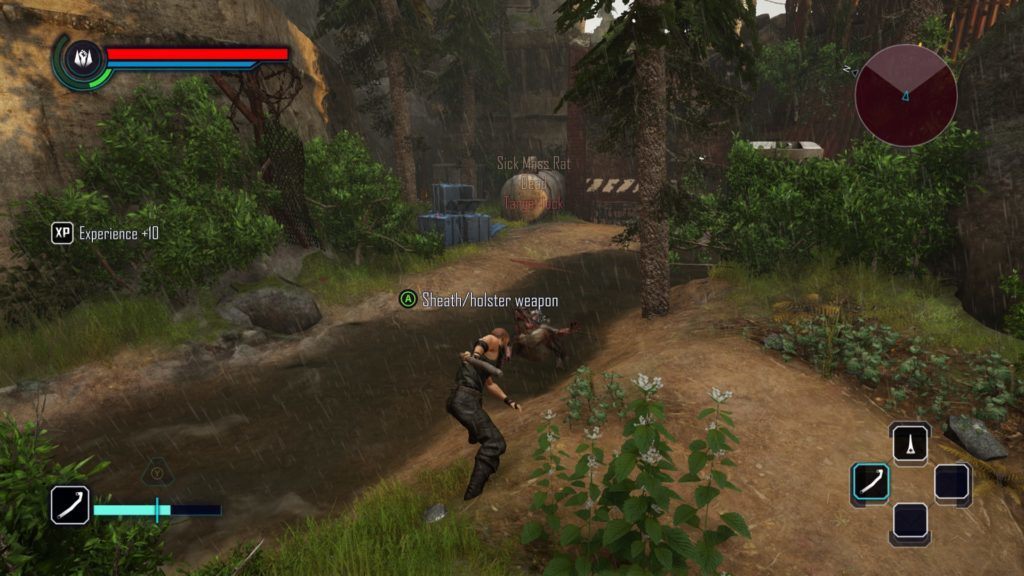 Player character fighting mutant dog beside small stream.