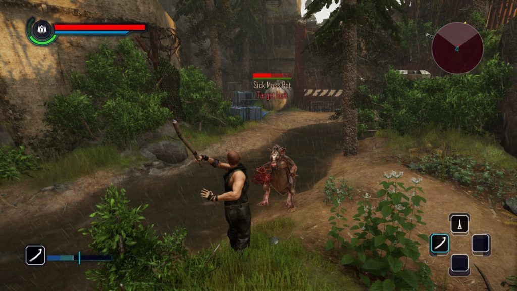 Player character fighting mutated giant rat.