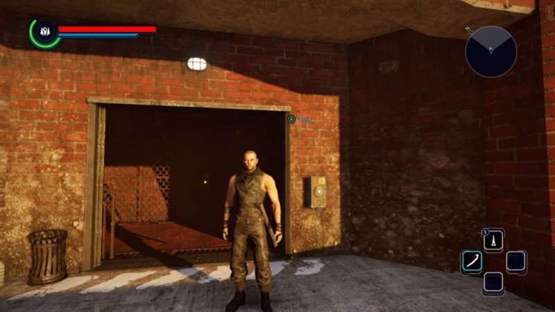 Player character standing in front of wide doorway of abandoned factory.