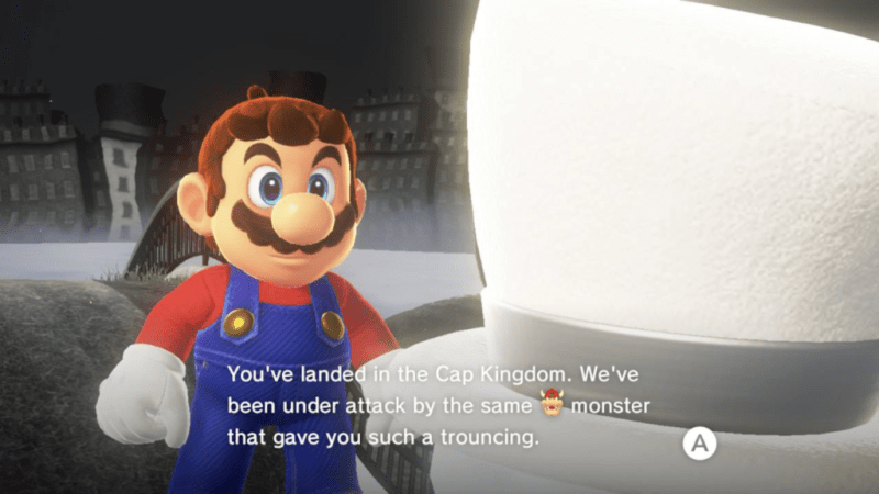 Mario talking to bright white top hat.