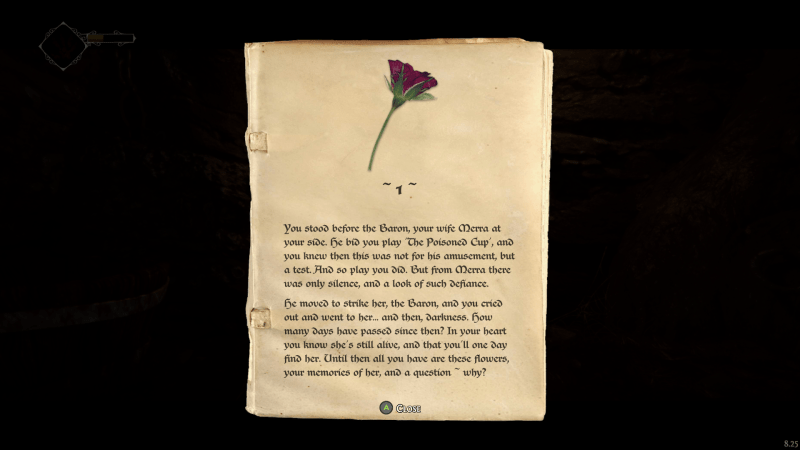 Page from a lore book. Rose illustration with two paragraphs of text.