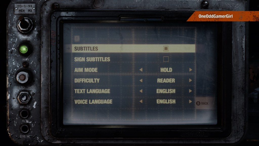 Metro Exodus gameplay settings screen