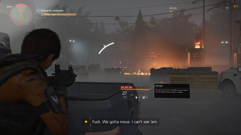 Player character in a gunfight, white bar on center of screen showing enemy fire direction and intensity.