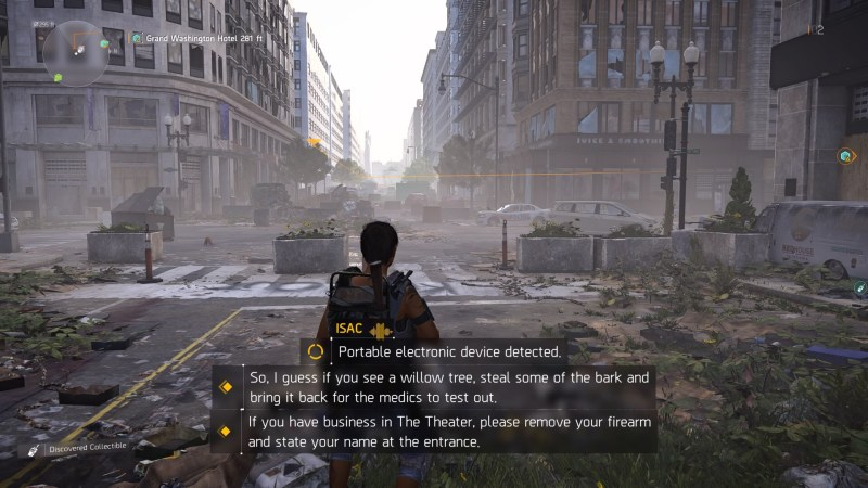 Player character walking  down deserted street with three sets of subtitles on screen at once.