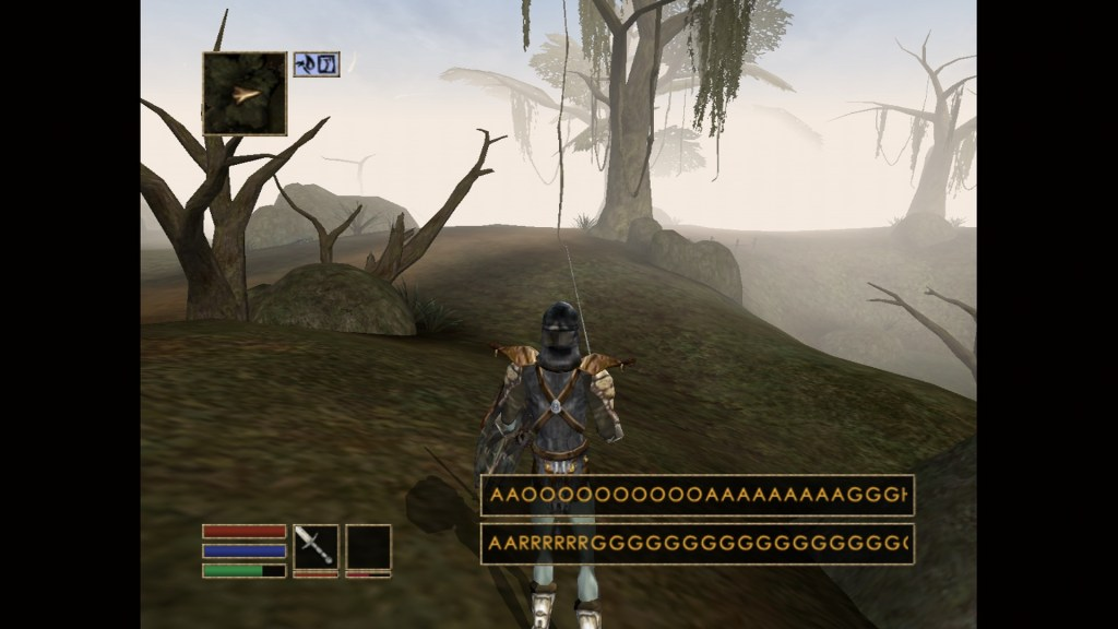 Player character walking in swamp area with unintelligible subtitles of someone screaming