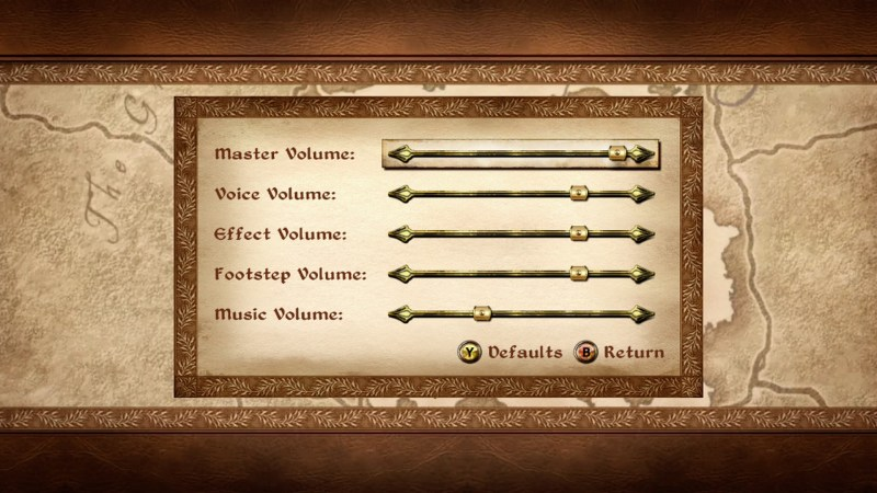 Volume options screen