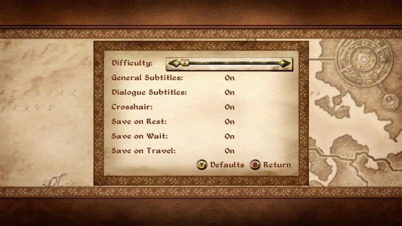 General options screen
