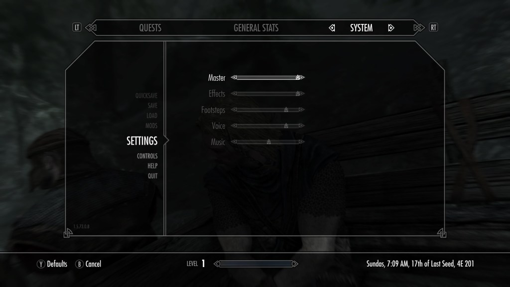 Volume slider menu
