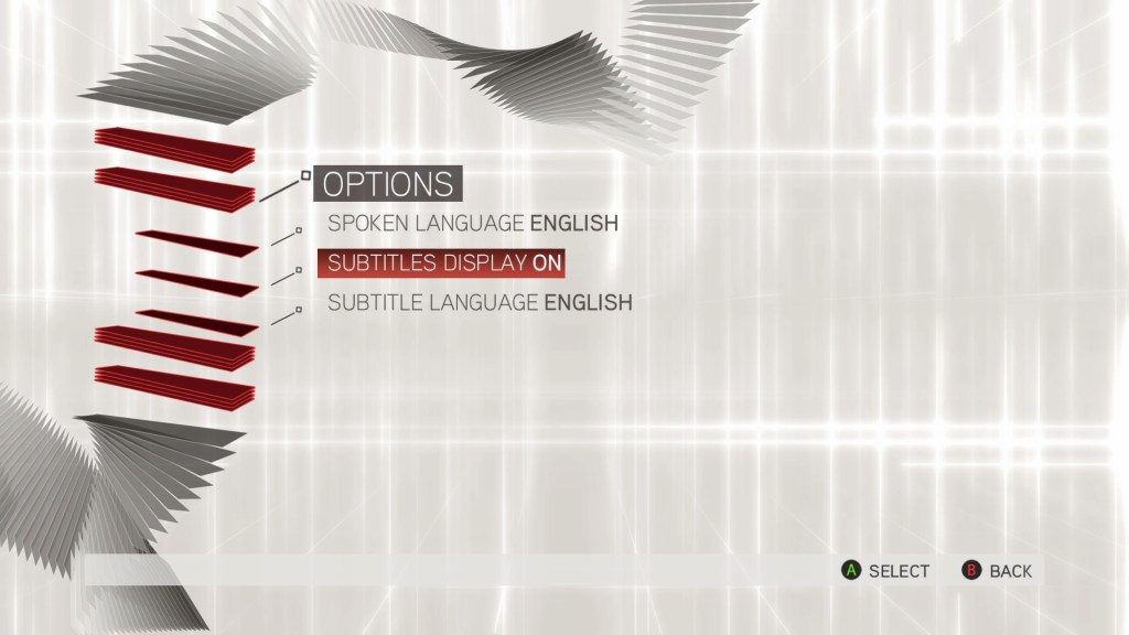 Subtitle options menu