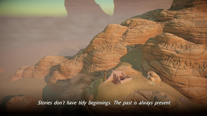 Wide view of desert mountail range with small structure in the middle of the screen. Large subtitles displayed at bottom of screen.