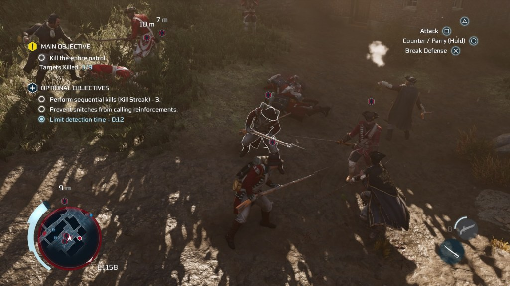 Large fight scene with numerous enemy soldiers and Haytham in the middle. Active enemy target highlighted in white.