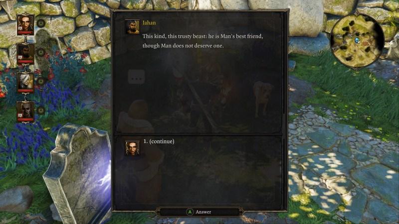 Dialogue choice screen