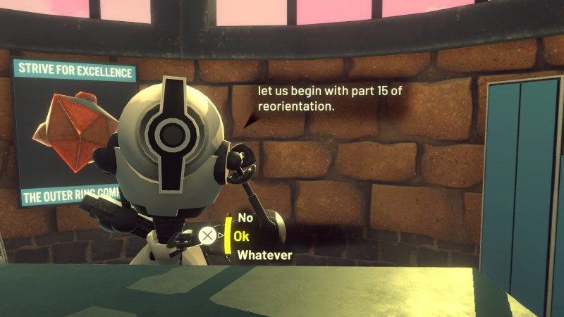 Robot character standing behind desk. Dialogue text shown on screen.