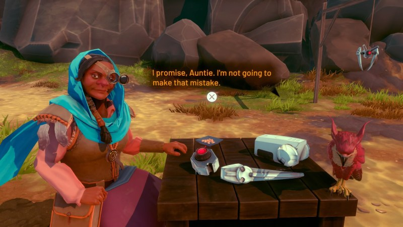 Player character's aunt sitting at a table outside, your falcon perched to the right. Player character dialogue text on screen.