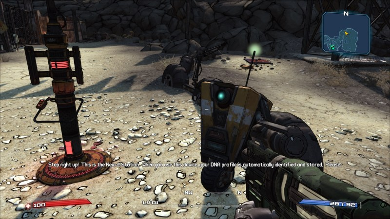 Claptrap talking to player character during tutorial, standing beside New You station.