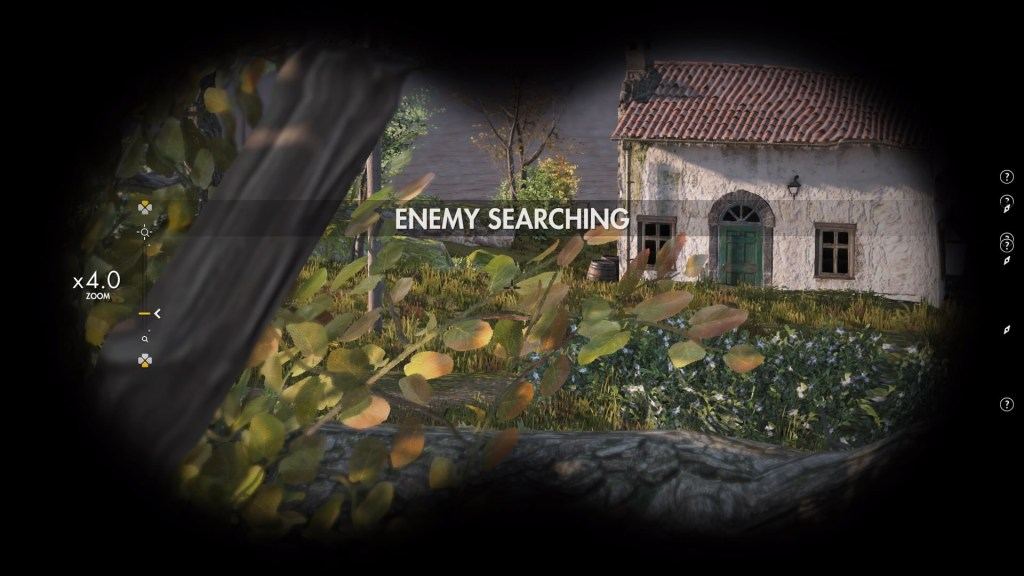 """Player character looking through binoculars, """"Enemy Searching"""" text displayed on screen."""