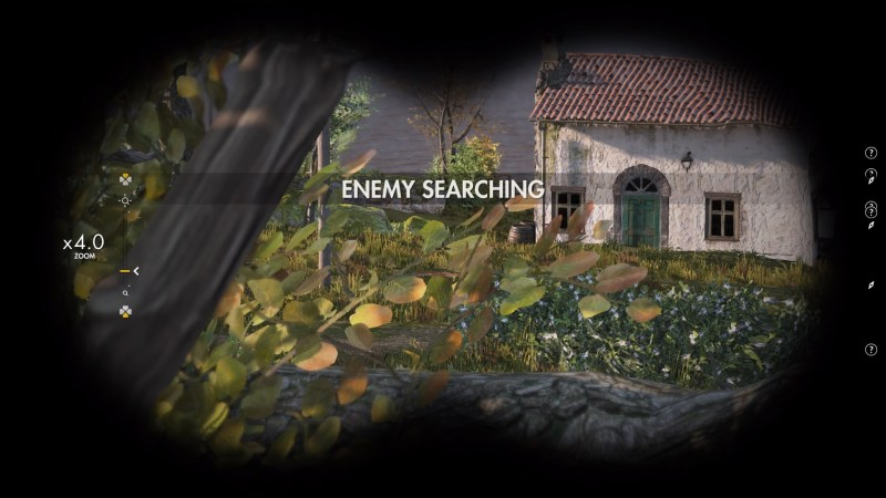 "Player character looking through binoculars, ""Enemy Searching"" text displayed on screen."