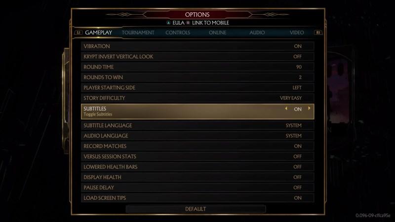 Gameplay options menu