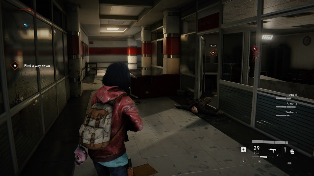"""Player character standing in a dark hallway, red silhouette of a """"screamer"""" enemy shown on the right."""