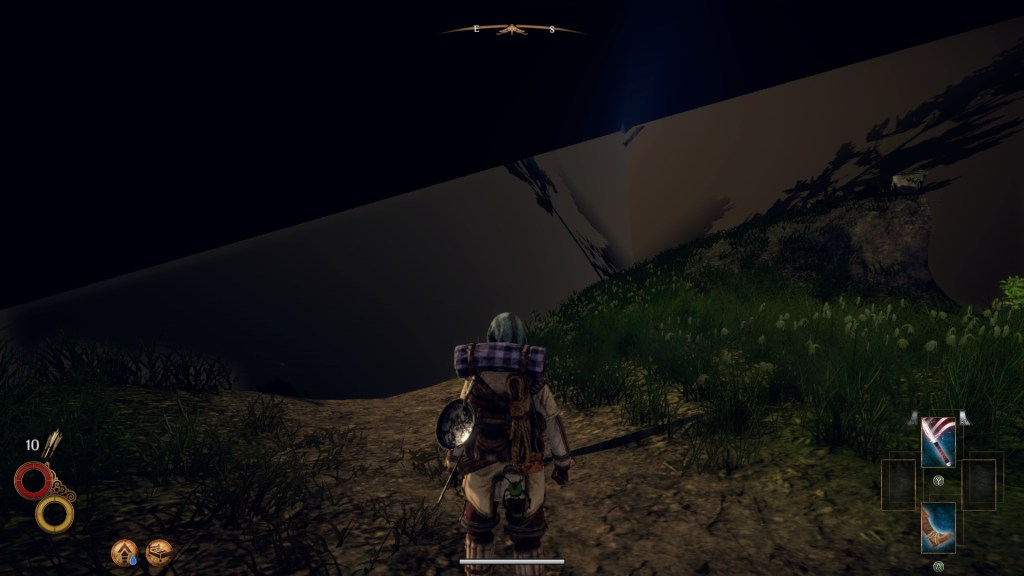 Player character standing on a path with view obscured by large black graphical glitch.