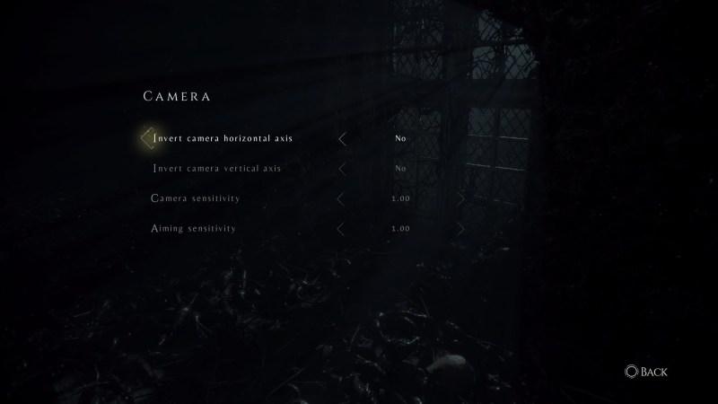 Camera settings menu
