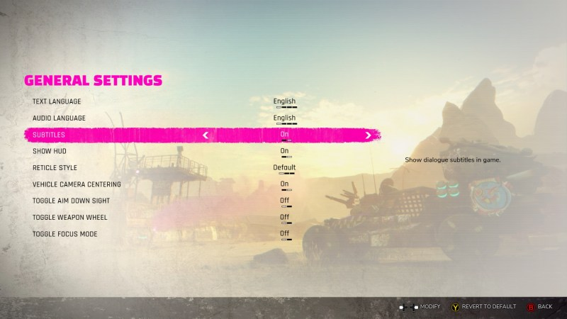General settings menu