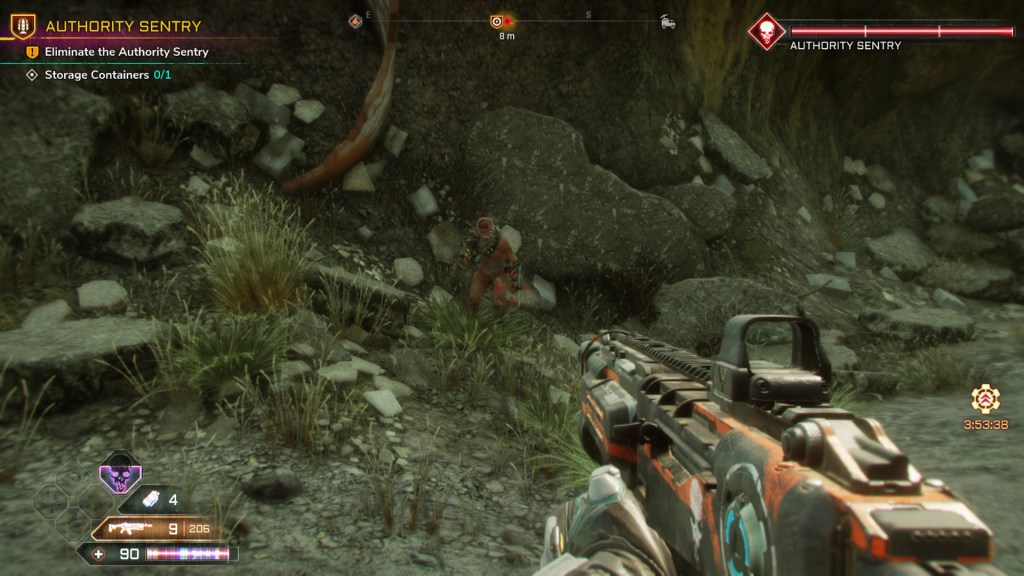 Rock wall with an enemy in front of it, compass bar showing enemy location at top of screen.