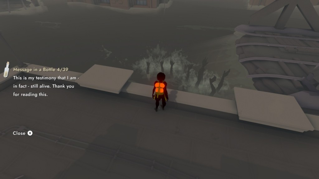 Game scene illustrating the lore text shown on screen