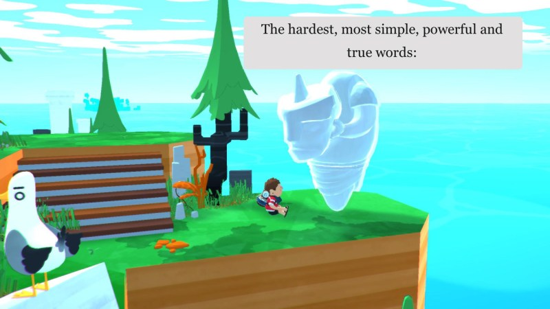 Player character talking to NPC, image illustrates large size of the subtitles.