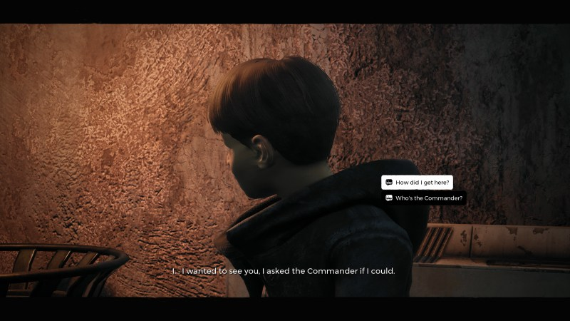 Dialogue selection screen, illustrating the small text of the dialogue options.